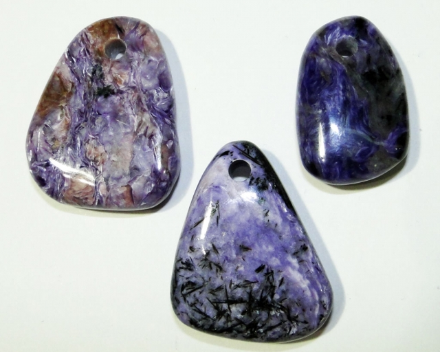 Charoite tumbled pendants